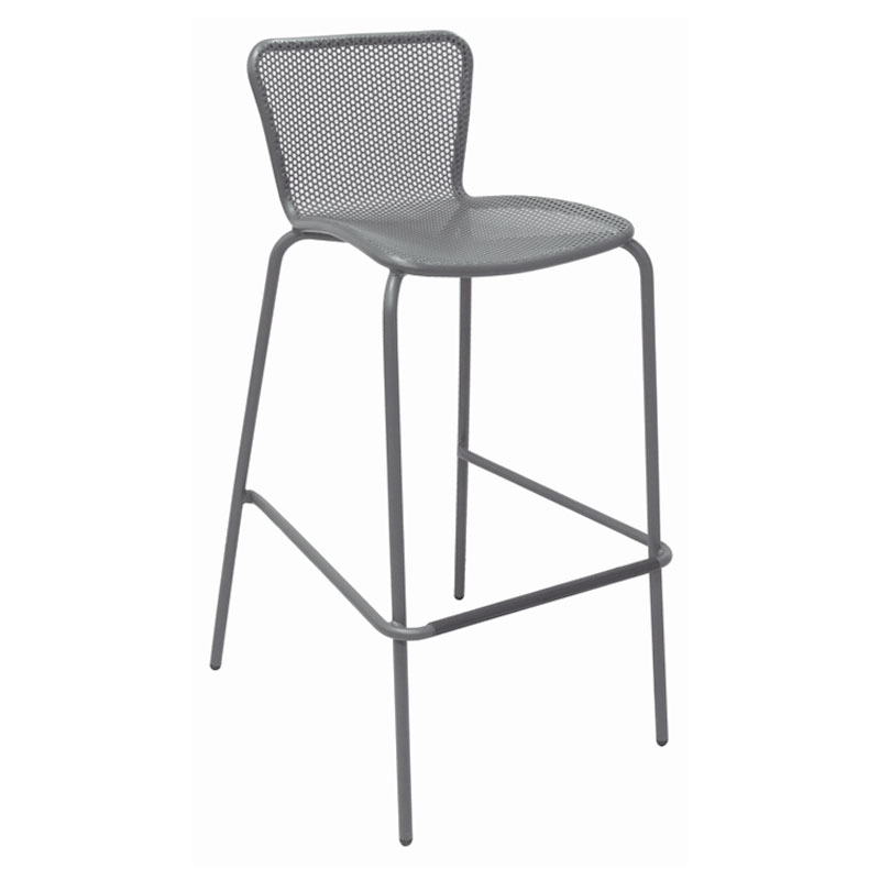emu 335 ALU Stacking Barstool w/ Perforated Steel Mesh Back & Seat, Tubular Frame, Aluminum