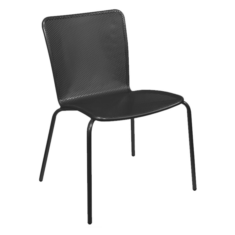 emu 338 Stacking Side Chair w/ Perforated Steel Mesh Back & Seat, Black