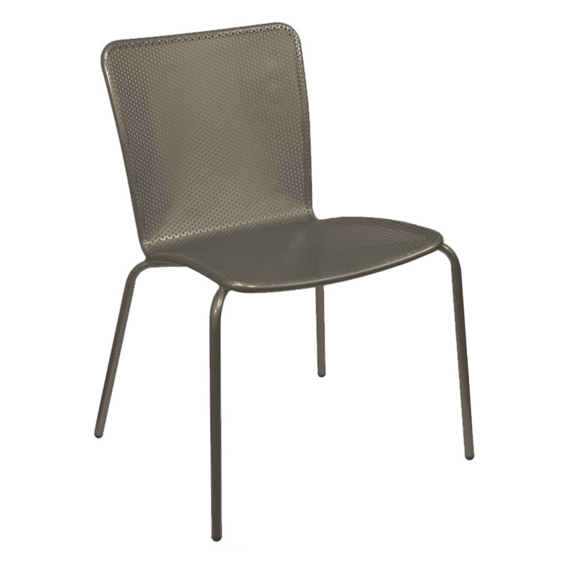 emu 338 ABRONZE Stacking Side Chair w/ Perforated Steel Mesh Back & Seat, Bronze