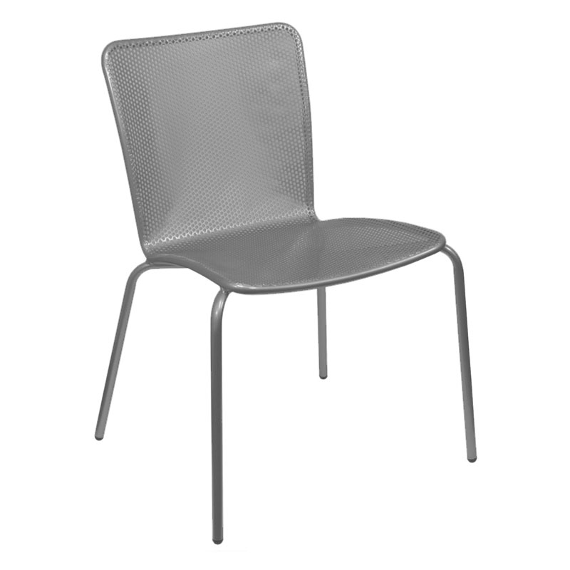 emu 338 AIRON Stacking Side Chair w/ Perforated Steel Mesh Back & Seat, Iron