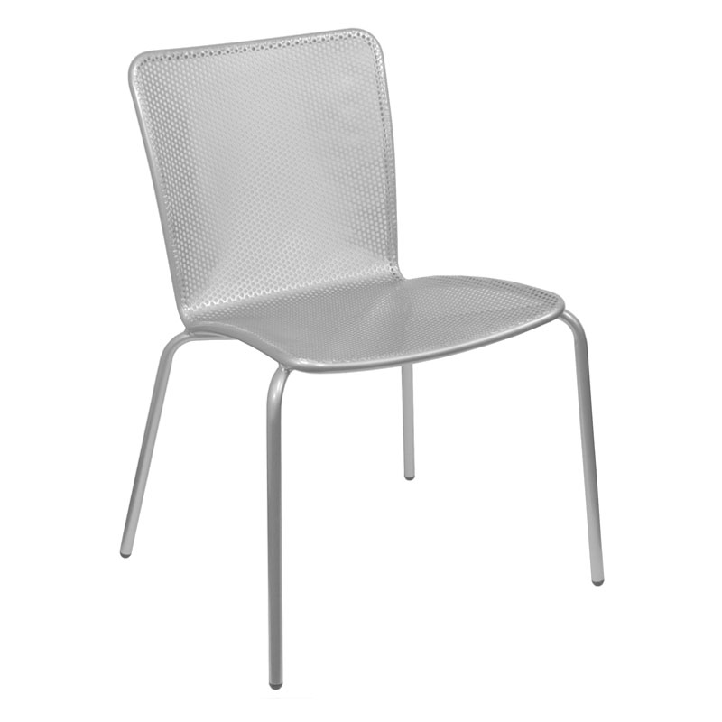 emu 338 ALU Stacking Side Chair w/ Perforated Steel Mesh Back & Seat, Aluminum