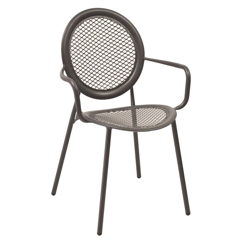 emu 3397 Stacking Arm Chair w/ Steel Mesh Back & Seat, Tubular Frame, Bronze