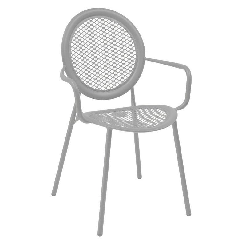 emu 3397 ALU Stacking Arm Chair w/ Steel Mesh Back & Seat, Tubular Frame, Aluminum