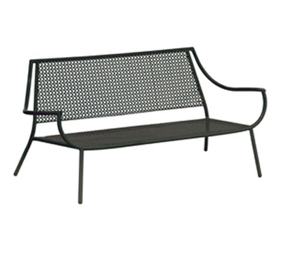 EmuAmericas 3435 Lounge Loveseat w/ Design Pattern Back & Steel Seat, Tubular Frame
