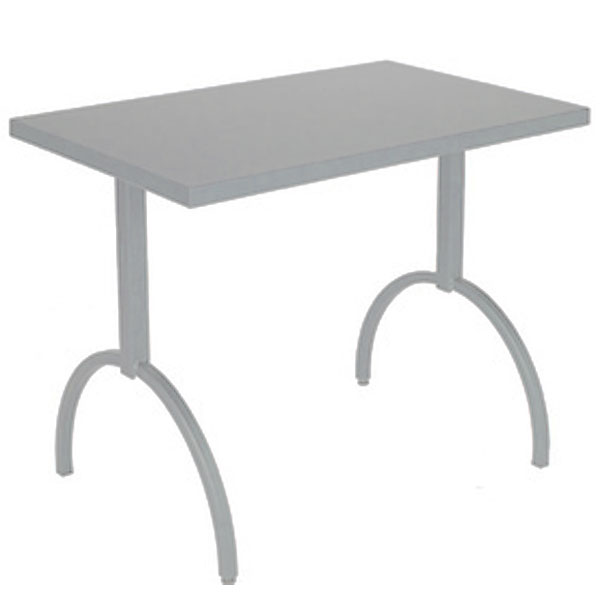 """emu 3521 ALU ADA Segno Table, 38 W x 23""""D, Square Steel Frame, Aluminum"""