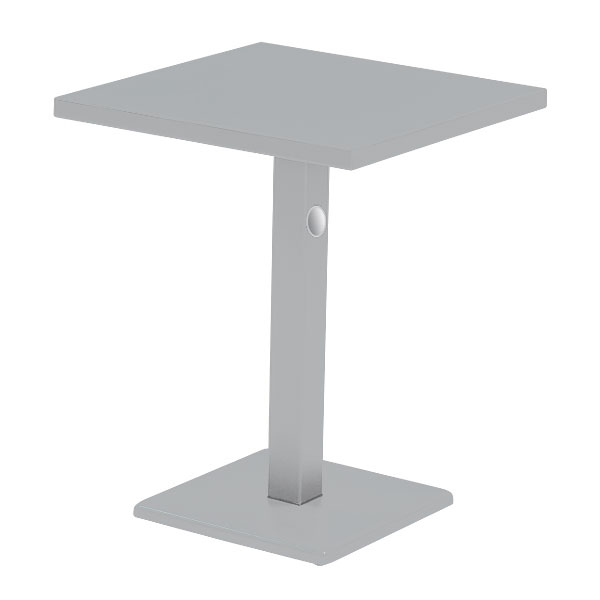 "emu 472K ALU 24"" Square Lock Table, Column & Pedestal, Aluminum"