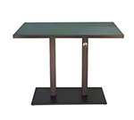 emu 474KH ALU Rectangular Lock Bar Table w/ Solid Top & Pedestal, Indoor/Outdoor, Aluminum