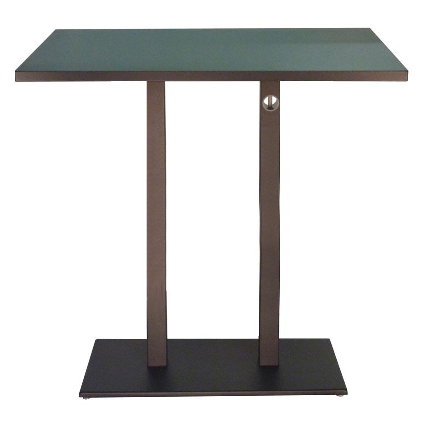 emu 474KH ABRONZE Rectangular Lock Bar Table w/ Solid Top & Pedestal, Indoor/Outdoor, Bronze