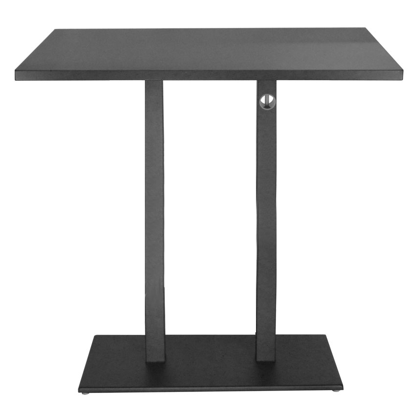 emu 474KH AIRON Rectangular Lock Bar Table w/ Solid Top & Pedestal, Indoor/Outdoor, Iron