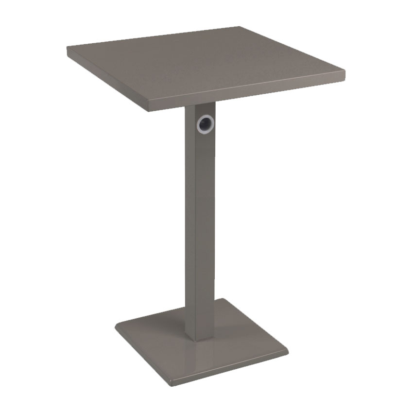 "emu 475KH 24"" Square Lock Bar Table w/ Solid Top & Pedestal, Bronze"
