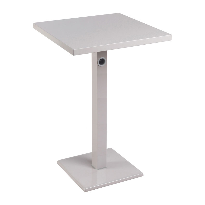 "emu 475KH ALU 24"" Square Lock Bar Table w/ Solid Top & Pedestal, Aluminum"