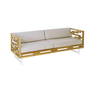 Emuamericas 6421 Lounge Sofa w/ Teak Slat Seat & Back, Square Tube Steel Frame, White