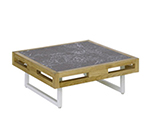 EmuAmericas 6428 32-in Low Square Table w/ Natural Teak Wood Slat & Lava Stone Top, White