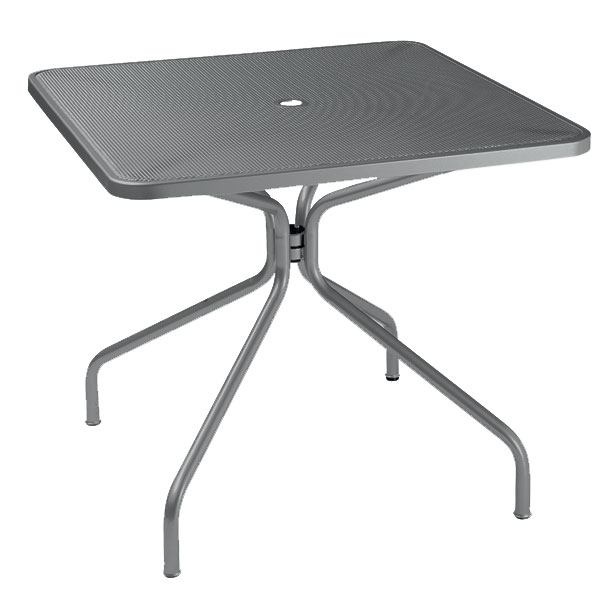 "emu 801 AIRON Cambi Table, 32"" Square, Umbrella Hole, Mesh Top, Iron"