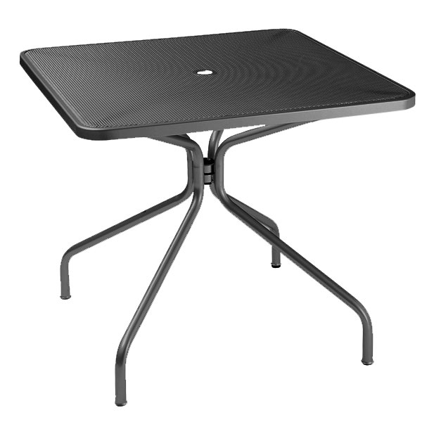 "emu 801 BLACK Cambi Table, 32"" Square, Umbrella Hole, Mesh Top, Black"