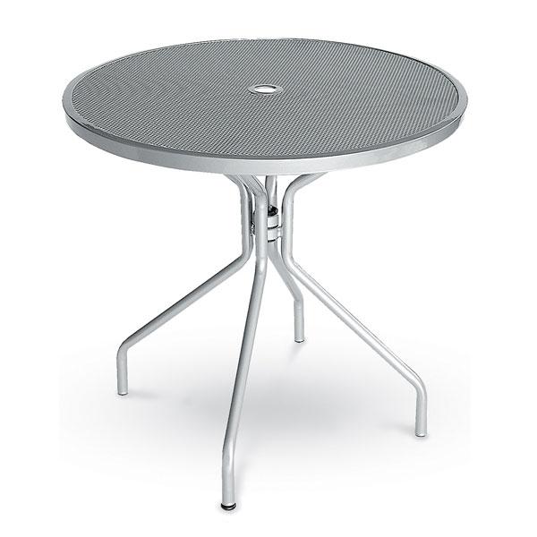 "emu 803 ALU Cambi Table, 32"" Diameter, Umbrella Hole, Mesh Top, Aluminum"