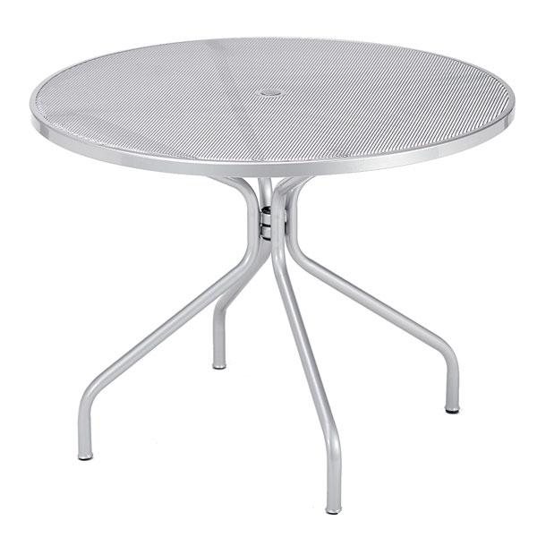 "emu 805 ALU Cambi Table, 48"" Diameter, Umbrella Hole, Mesh Top, Aluminum"