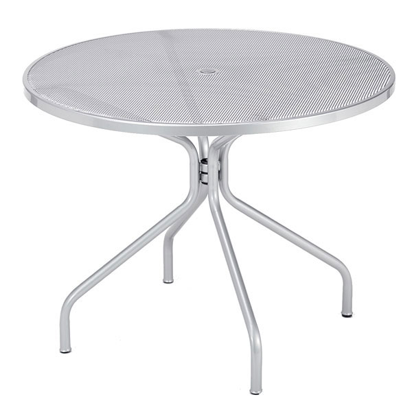 "emu 813 ALU Cambi Table, 36"" Diameter, Umbrella Hole, Mesh, Aluminum"