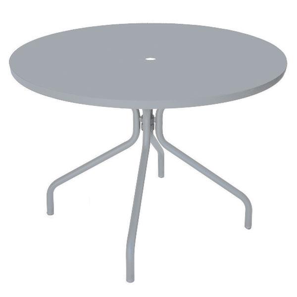 """emu 823 ALU Solid Table, 36"""" Diameter, Umbrella Hole, Solid Top, Aluminum"""
