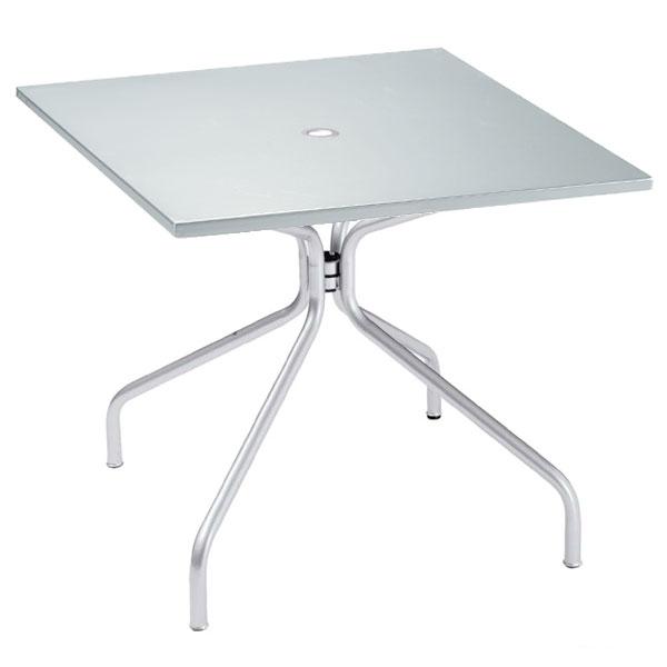 "emu 824 ALU Solid Table, 36"" Square, Umbrella Hole, Solid Top, Aluminum"