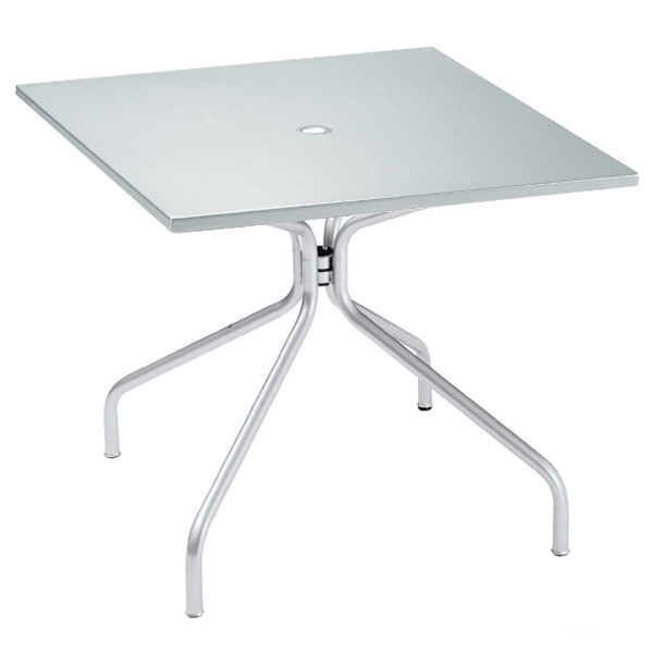 "emu 829 ALU Solid Table, 32"" Square, Umbrella Hole, Solid Top, Aluminum"