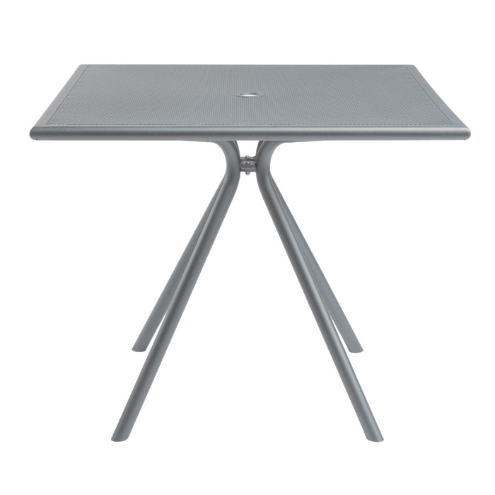 "emu 862 ALU Forte Table, 36"" Square, Umbrella Hole, Mesh, Aluminum"