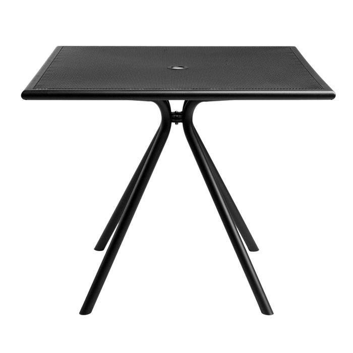 "emu 862 BLACK Forte Table, 36"" Square, Umbrella Hole, Mesh, Black"