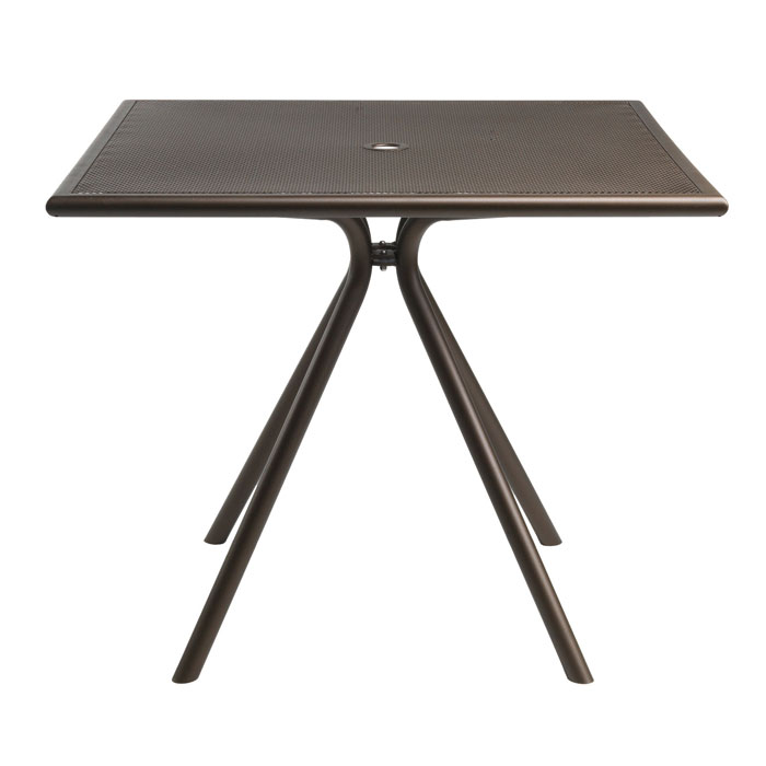"emu 862 BRONZE Forte Table, 36"" Square, Umbrella Hole, Mesh, Bronze"