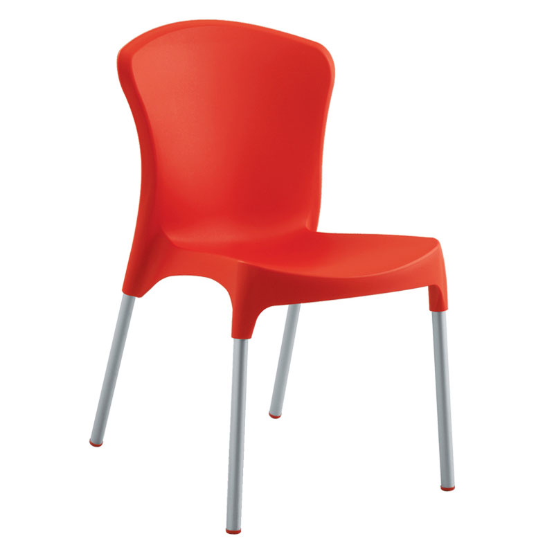 emu 9004 RED Nido Side Chair, Red Poly Shell, Aluminum