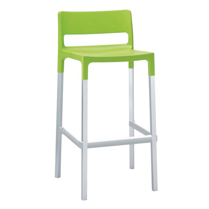 emu 9208 Olly Stacking Barstool w/ Polypropylene Seat & Back, Foot Rest, Green