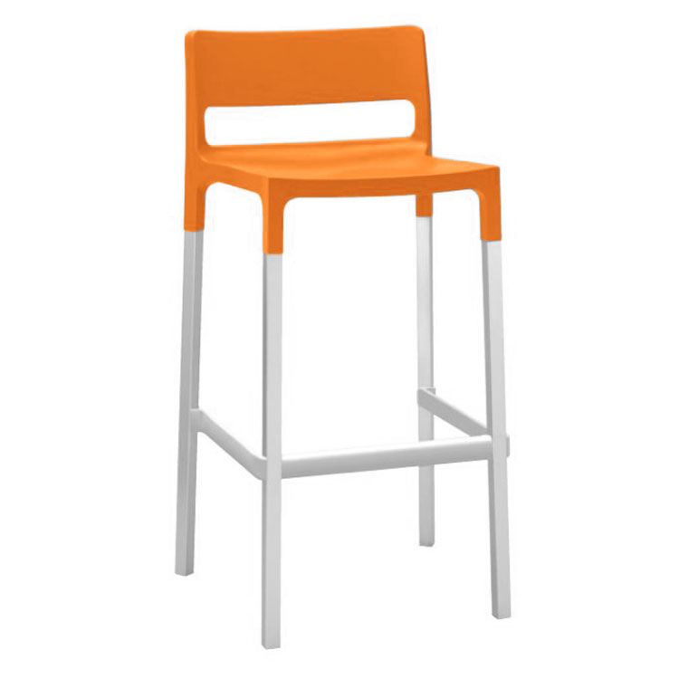 emu 9208 Olly Stacking Bar Stool - Indoor/Outdoor, Aluminum/Poly Frame, Red