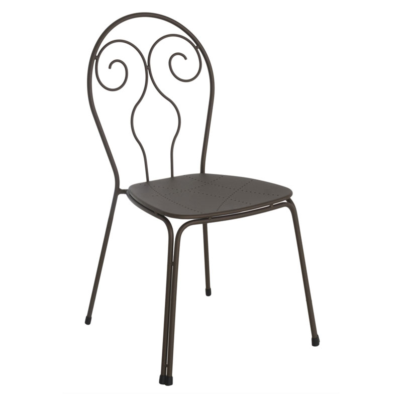 emu 930 Stacking Side Chair w/ Wrought Iron Frame, Design Pattern Steel Back