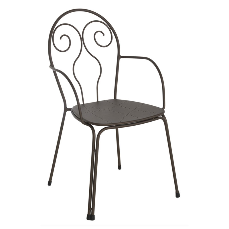 Emuamericas 931 Stacking Arm Chair w/ Wrought Iron Frame, Design Pattern Steel Back