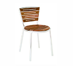 emu 1001 Karen Stacking Side Chair, Teak Slat Seat & Back, Aluminum