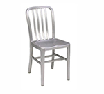 emu 1004 Anna Side Chair, Slat Back, Saddle Seat, Brushed Aluminum