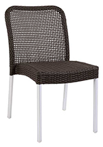 Emuamericas 1011 Rita Stacking Side Chair, Wicker, Matte Aluminum, Espresso