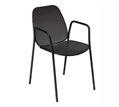105 Stella Stacking Armchair Steel Mesh Seat & Back Aluminum Restaurant Supply