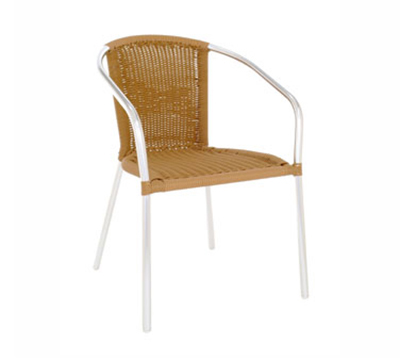1109 Laura Stacking Armchair Wicker Polished Aluminum Natural Restaurant Supply