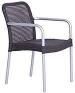 EmuAmericas 1111 WG2 Rita Stacking Armchair, Wicker, Matte Aluminum, Grey