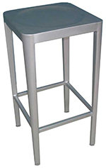 EmuAmericas 1206 Anna Barstool, Foot Rest, Backless, Brushed Aluminum