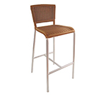 emu 1209 NATURAL Laura Barstool, Foot Rest, Wicker & Polished Aluminum, Natural