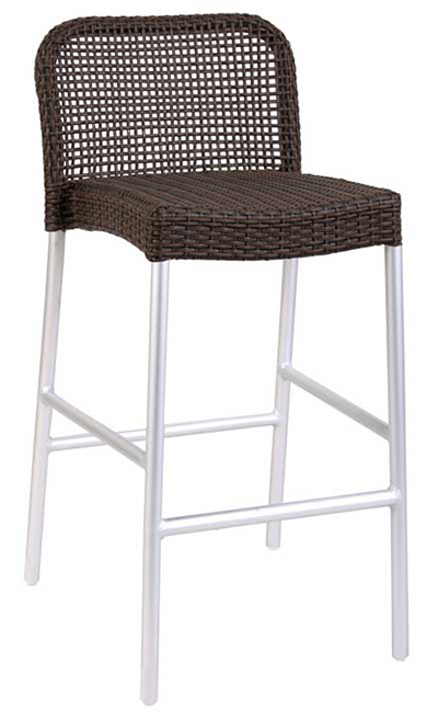 1211 Rita Barstool Foot Rest Wicker Matte Aluminum Grey Restaurant Supply