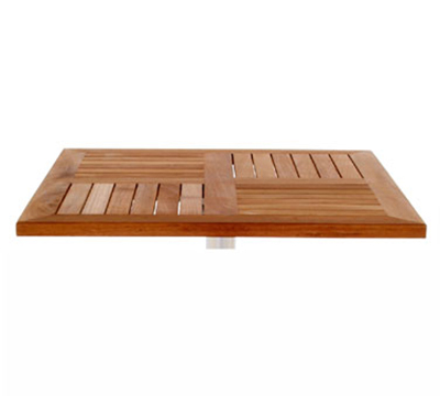 Emuamericas 1455 48x32-in Rectangular Tom Table Top w/ Slats & Natural Teak Wood