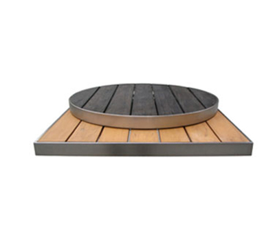 "Emuamericas 1481 30"" Sid Round Outdoor Table Top - Wood-Look, Oak/Aluminum Edge"