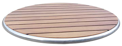 Emuamericas 1620 Ted Table Top, 24 in Diameter, Wood & Plastic Slats, Walnut