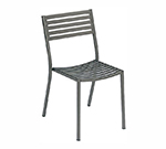 emu 263 ALU Segno Side Chair, Slatted, Square Tubular Frame, Aluminum