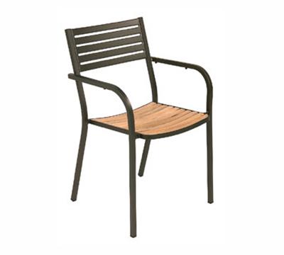 emu 267 AIRON Segno Armchair, Steel & Teak, Slatted, Iron