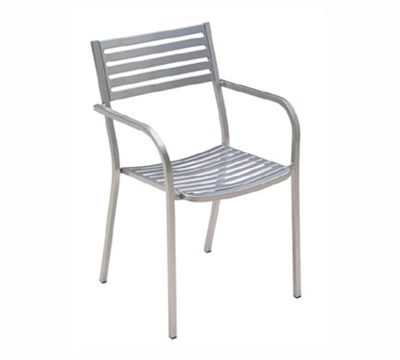 268 Segno Armchair Slatted Square Tubular Frame Bronze Restaurant Supply