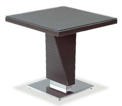 6525 Cube Table Glass Top 32 in Square Wicker Aluminum Brown Restaurant Supply
