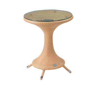 6535 Nilo Table Glass Top 24 in Diameter Wicker Aluminum Greige Restaurant Supply